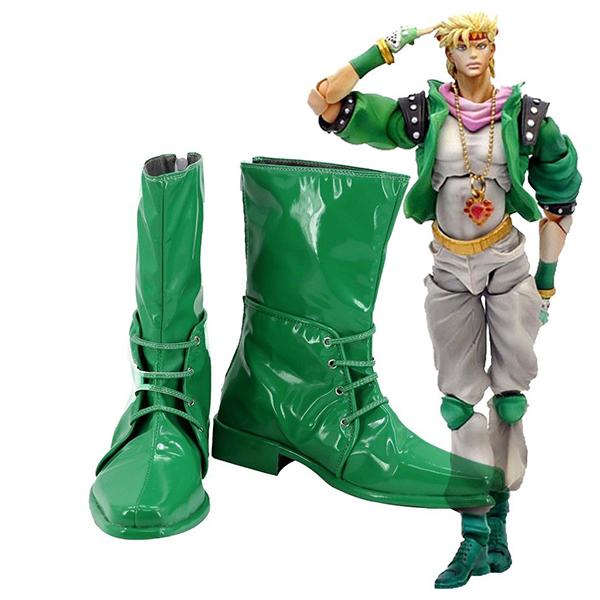 Zapatos JoJo\'s Bizarre Adventure 2 Caesar Anthonio Zeppeli Botas Cosplay Verde Botas Carnaval