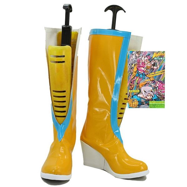 Jojo\'s Bizarre Adventure 6 Jolyne Kujo Cosplay Shoes Yellow Boots Custom Made