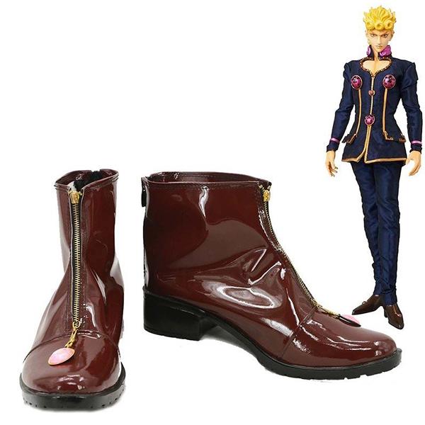 JoJo\'s Bizarre Adventure Giorno Giovanna Cosplay Shoes Brown Boots Custom Made