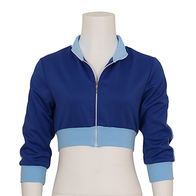 Disfraces Mujer Pokemon Go Trainer Cropped Capucha Azul Zipper Chaqueta
