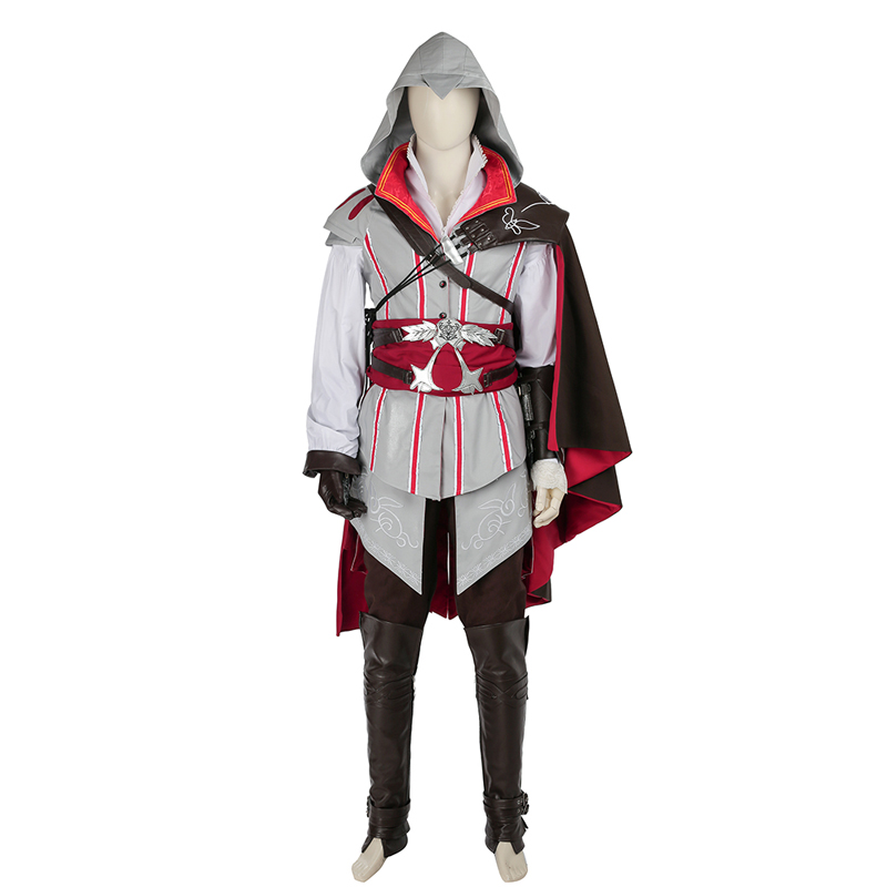 Assassins Creed 2 Ezio Auditore Da Firenze Cosplay Kostym White Karneval