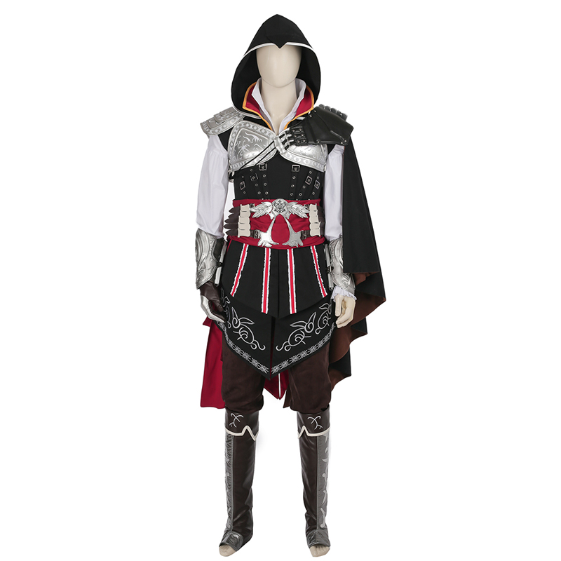 Assassins Creed 2 Ezio Auditore Da Firenze Cosplay Costume Noir Carnaval