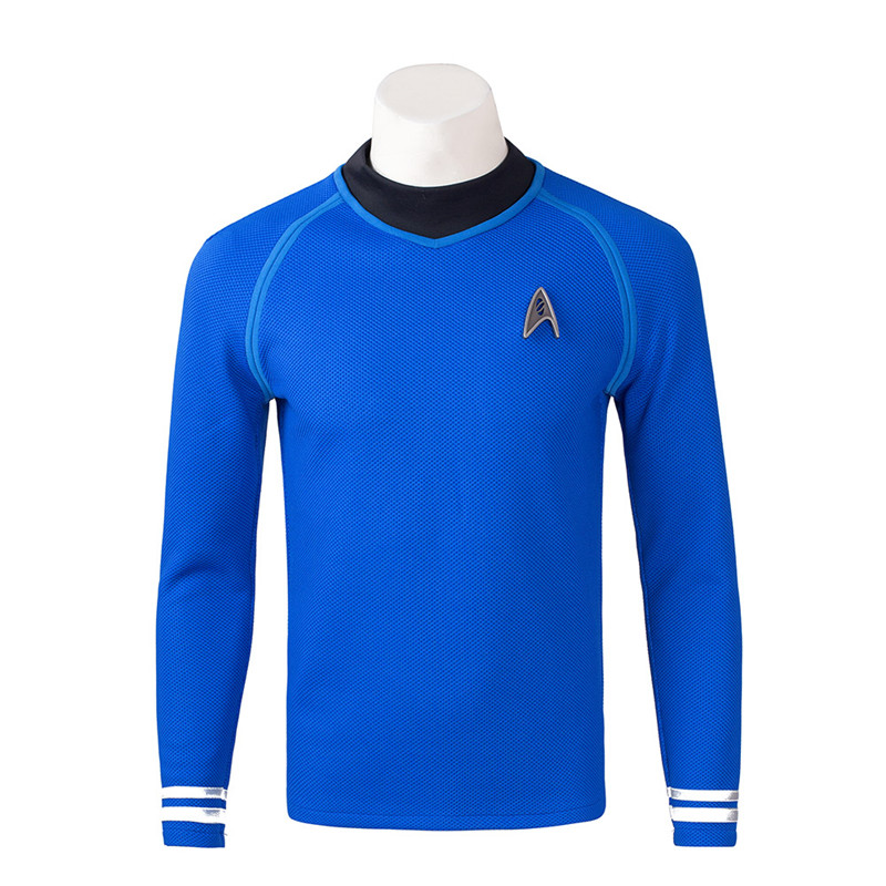 Star Trek Beyond Spock Blue Shirt Cosplay Kostym Karneval