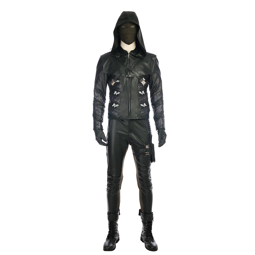 Arrow Season 5 Prometheus Cosplay Kostym Svart Läder Karneval