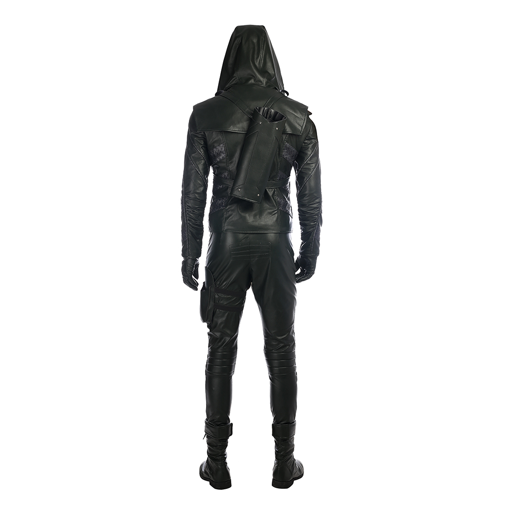 Arrow Season 5 Prometheus Cosplay Kostume Black Leather Fastelavn