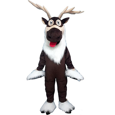 Brown Reindeer Christmas Mascot Costume Cartoon Langteng Cartoon