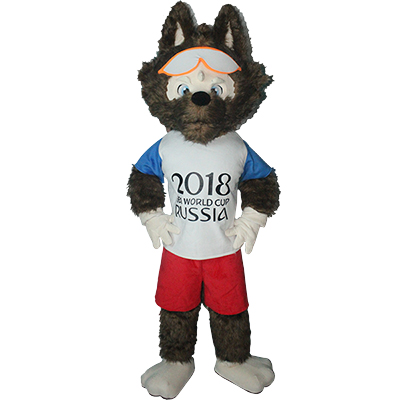 White Wolf Zabivaka Mascot Costume Cartoon