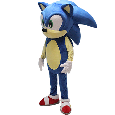Blue Sonic the Hedgehog Mascot Costume Cartoon