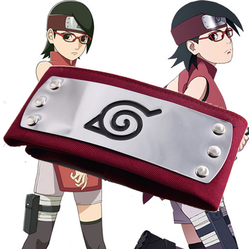 Anime Naruto Uchiha Sarada Leaf Village Konoha Ninja Red Headband Accessory