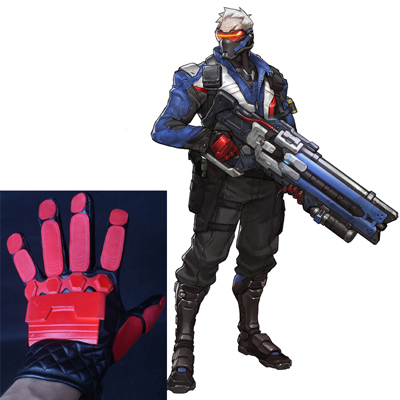 Overwatch Soldier 76 Cosplay Gloves Halloween Prop