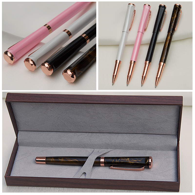 Luxury Gift Ballpoint Pens Color Lacquer Rollerball Pen with 18KT Gold Plated