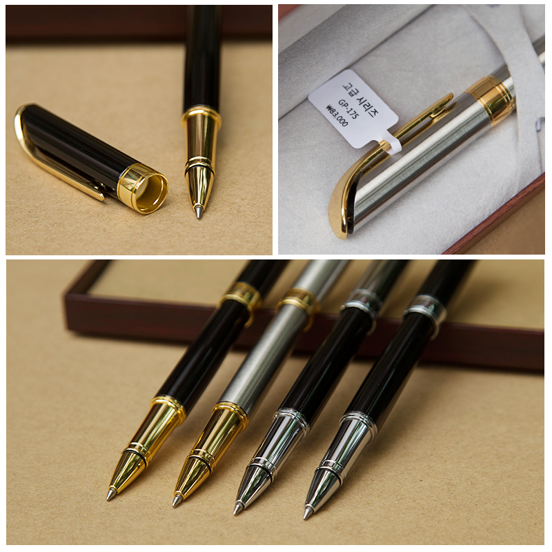 Luxury Gift Business Pens Ballpoint Pen Black/Silver Lacquer Rollerball Pen 18KT Gold Plated