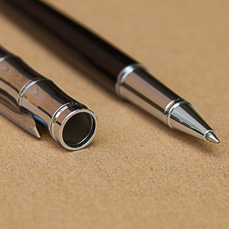 Luxury Gift Ballpoint Pens Black Lacquer Rollerball Pen with Silver Plated/Silver Cap