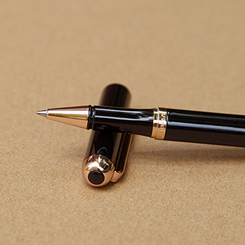 Luxury Gift Ballpoint Pen Black Lacquer Rollerball Pens with 18KT Gold Plated with Leather Box
