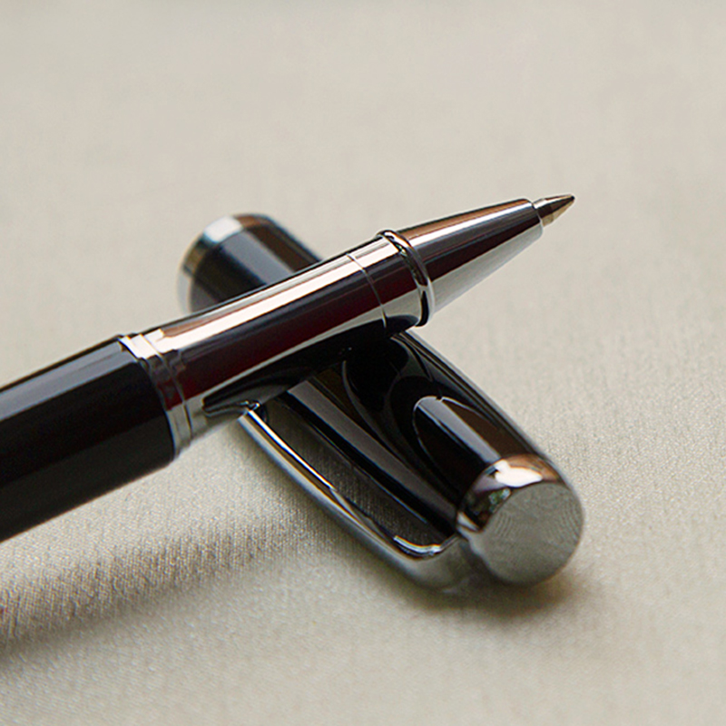 Luxury Gift Business Pens Ballpoint Pen Black Lacquer Rollerball Pen with Silver Plated