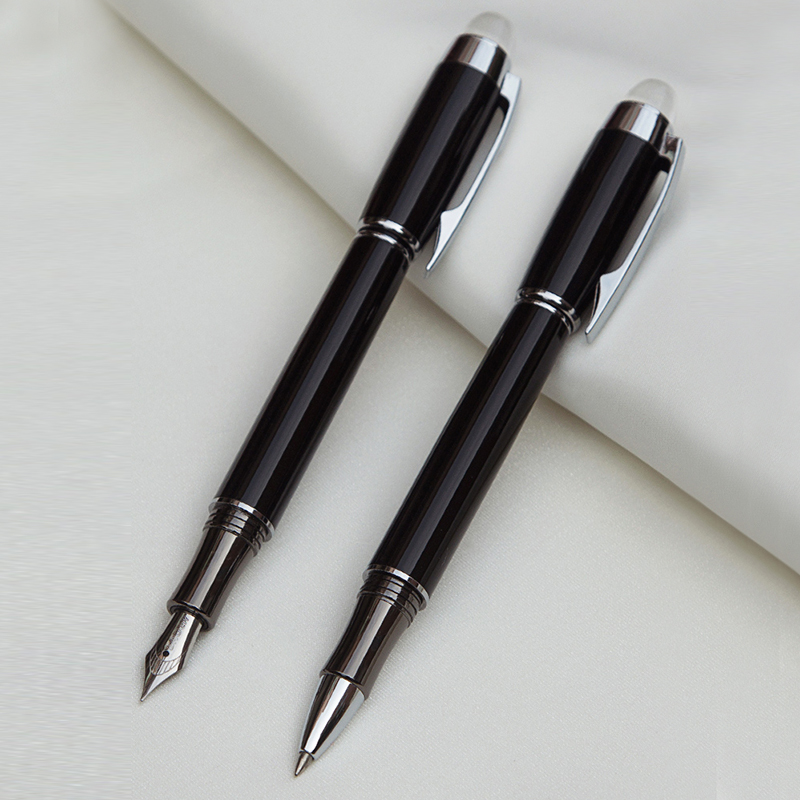 Luxury Gift Ballpoint Pen Fountain Pen Black Lacquer Rollerball Pen with Silver Plated