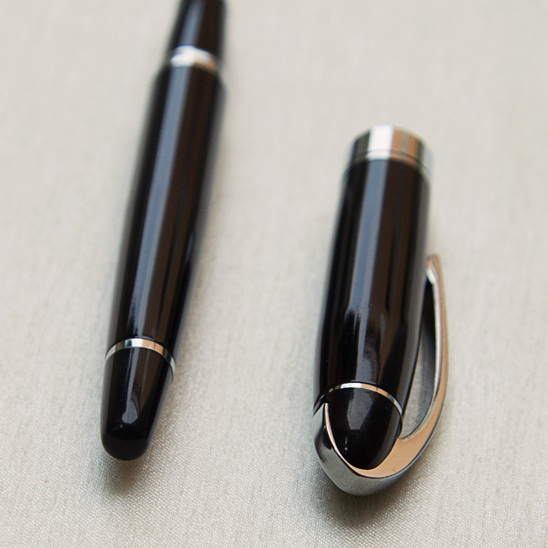Luxury Gift Classic Ballpoint Pen Black Lacquer Rollerball Pen with Silver Plated