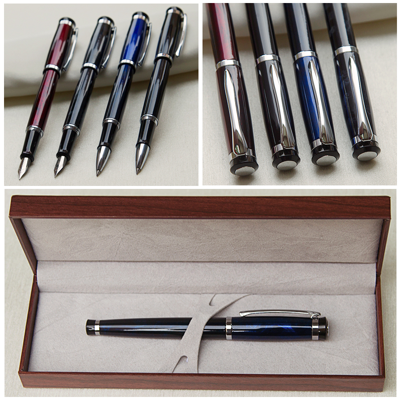 Luxury Gift Classic Ballpoint Pens Color Lacquer Rollerball Pen with Silver Plated Leather Box