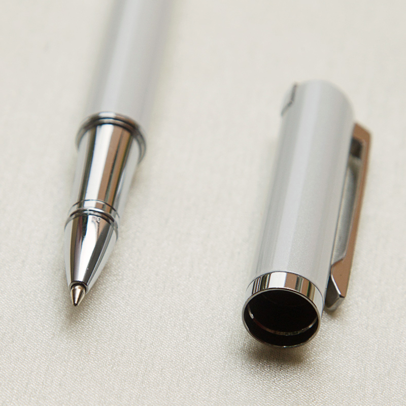 Luxury Gift Business Pens Ballpoint Pen White Lacquer Rollerball Pen with Silver Plated/Silver Cap