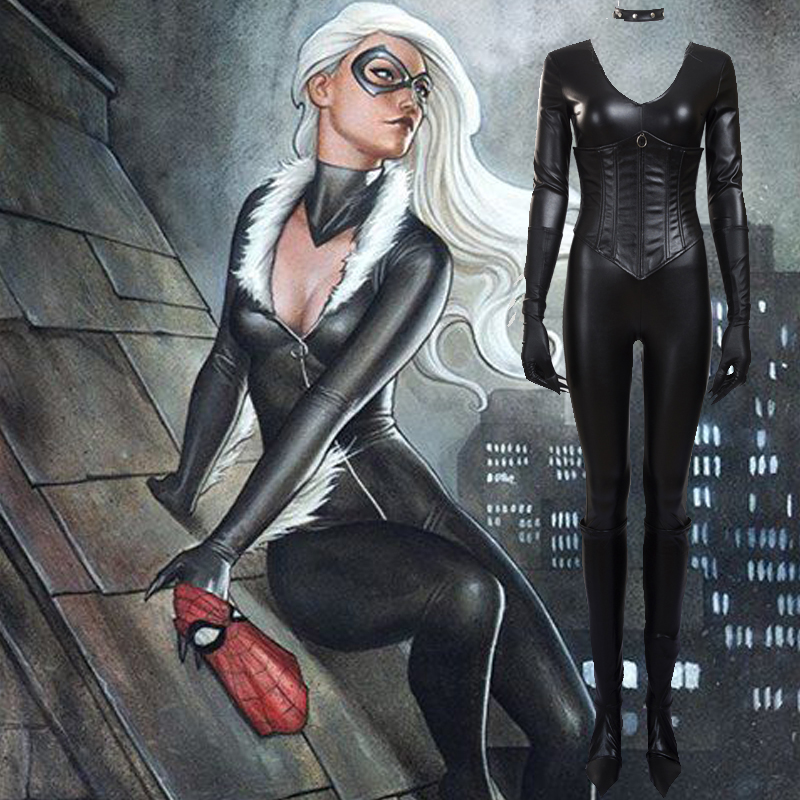 Fantasias de Spider-Man Felicia Hardy Gato preto Cosplay Trajes Zentai Suit Brasil