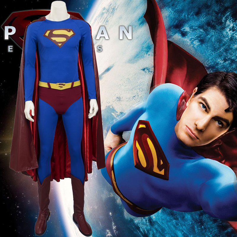 Costumi Carnevale 2016 Superman Returns di Halloween Cosplay L'intero t pettinato Italia