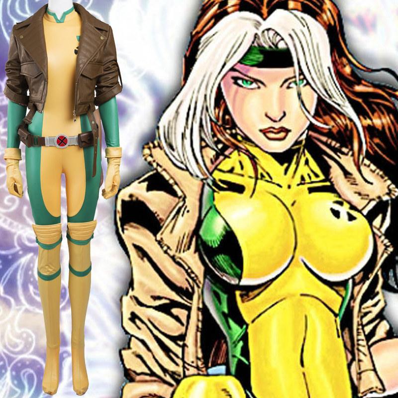 New Style X Men Anna Marie Rogue Cosplay Halloween Fantasias Zentai Suits Portugal