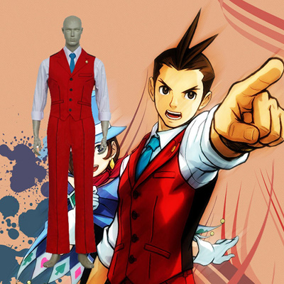 Ace Attorney Apollo Justice Cosplay Kostym Karneval