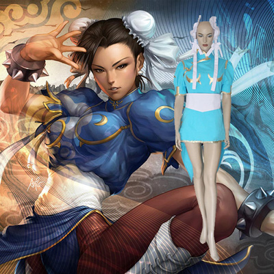 Street Fighter Chun Li Cosplay Kostume Anime Fastelavn