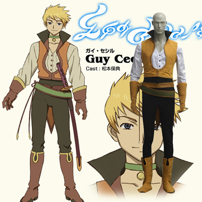 Tales of The Abyss Guy Cecil Cosplay Kostym Karneval