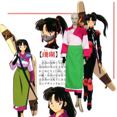 Inuyasha Kikyou Coral Kimono Cosplay asut Naamiaisasut