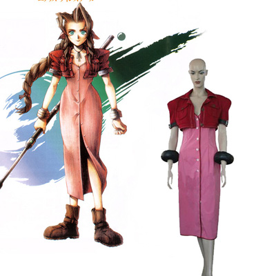 Final Fantasy VII 7 Aerith Cosplay Costume Carnaval