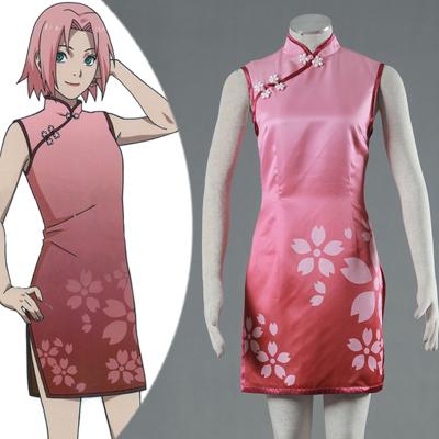 Naruto Sakura Haruno Anime Cheongsam Cosplay Costume