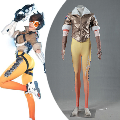 Overwatch OW Tracer Cosplay Halloween Costumi Zentai Suit (Simple Version) Carnevale