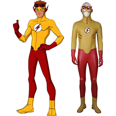 Flash Geel Cosplay Halloween Kostuum Zentai Suit Volledige set Carnaval