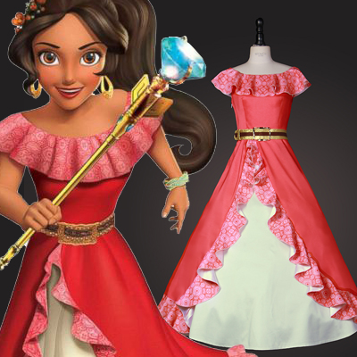 Sofia the First Elena Cosplay Hallween Costume Carnaval