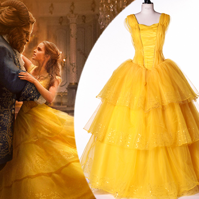 Beauty en the Beast Belle Princess Cosplay Kostuum Carnaval