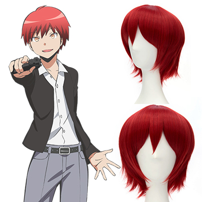 Assassination Classroom-Akabane Karuma Short Red Cosplay Peruca Carnaval