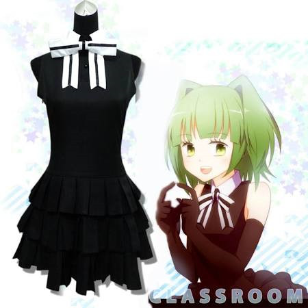 Assassination Classroom Kayano Kaede Preto Vestido Cosplay Traje Carnaval