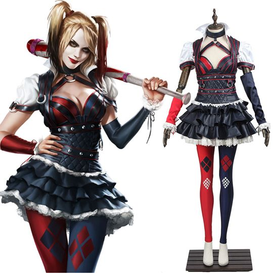 DC Comics Batman Arkham Asylum City Harley Quinn Cosplay Costume
