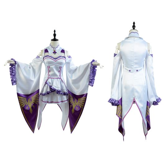 Re:Zero - Starting Life in Another World Emilia Cosplay Kostym Karneval