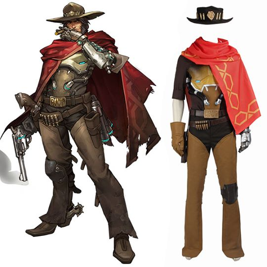 Overwatch OW Jesse McCree Cosplay Costume Game Outfit