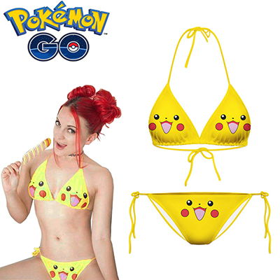 Pokemon Go Poke Monster Pikachu Cosplay Swimwear Bikini
