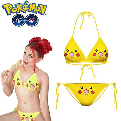 Pokemon Go Poke Monster Pikachu Cosplay Badetøj Bikini Fastelavn