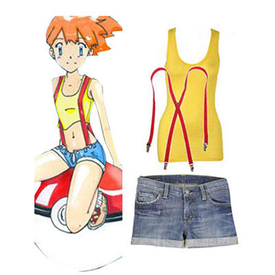 Pokemon Go Poke Monster Misty Halloween Cosplay Kostume Fastelavn