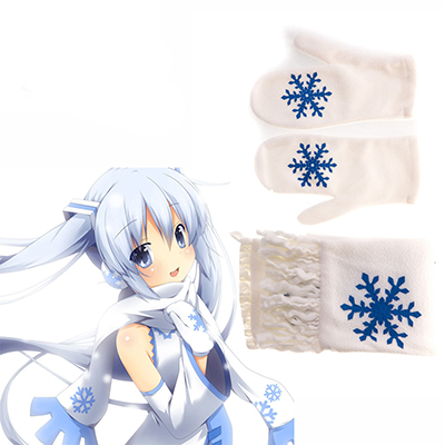 Vocaloid Snow Miku White Scarf and Guanti Cosplay Puntelli Carnevale