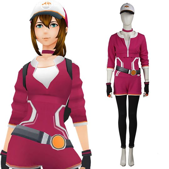 Pokemon GO Pocket Monster Trainer Female Red Cosplay Costume