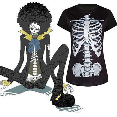 One Piece Brook T-Shirt Cosplay Kostym Karneval