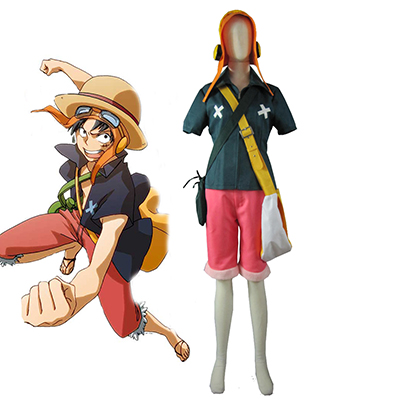 One Piece Film Strong World Monkey·D·Luffy Cosplay Kostym Karneval