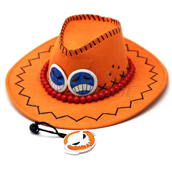One Piece Portgas·D· Ace West Cowboy Hatte Cosplay Accessories Fastelavn