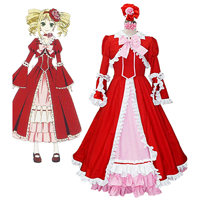 Black Butler Elizabeth Midford Red Lolita Cosplay Kostyme Karneval